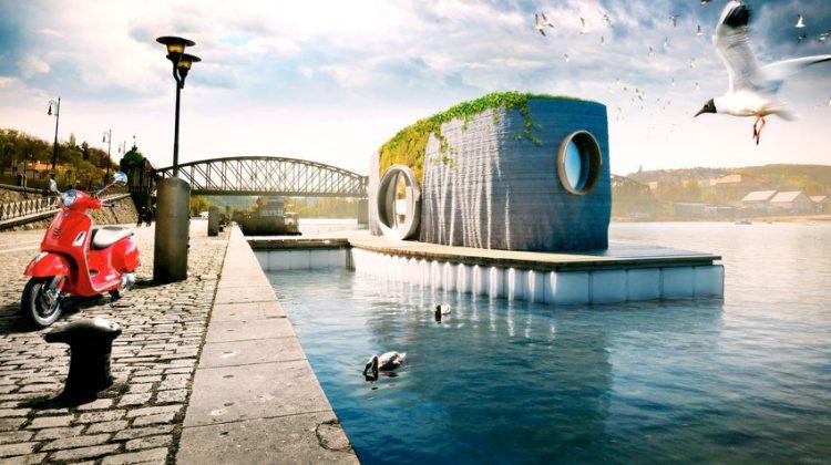 پرینت سه بعدی یک خانه شناور روی آب