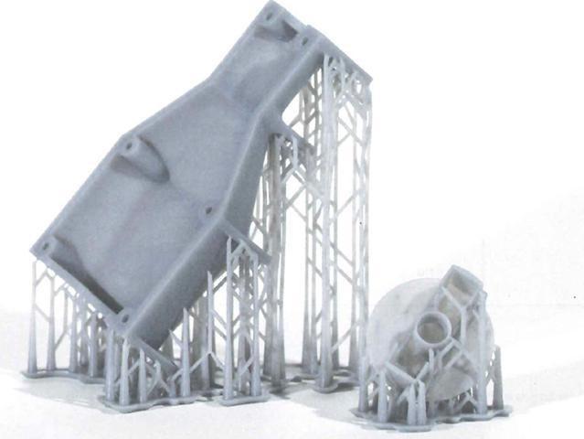 نمونه قطعه همراه با ساپورت گذاری در روش پرینت سه بعدی SLA