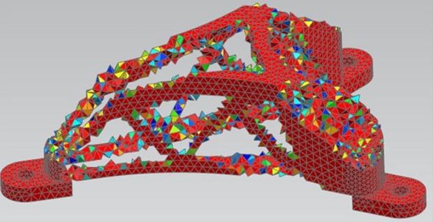 مدل سه بعدی پس از حذف مواد اضافی با استفاده از روش بهینه سازی توپولوژی