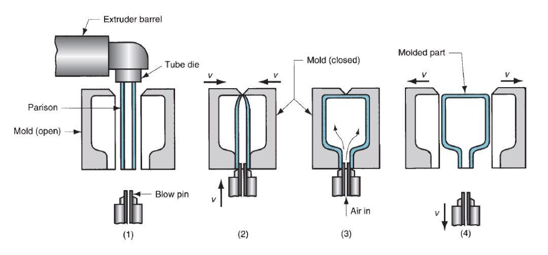 قالب گیری بادی اکستروژن: (1) اکستروژن parison؛ (2) parison در بالا بسته می شود و در قسمت پایین با اتصال دو نیمه قالب، حول یک پین دمشی فلزی مهرو موم می شود. (3) لوله باد می شود و به شکل حفره قالب در می آید. (4) قالب برای جداسازی قطعه جامد باز می شود.