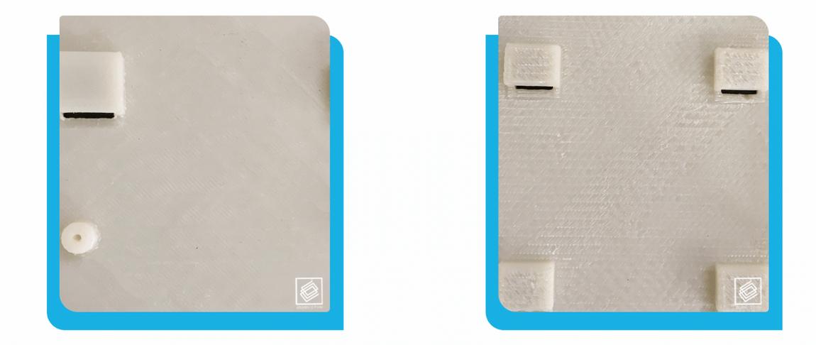 صافی سطح پرینت سه بعدی تک نازل (تصویر سمت راست) در قیاس با صافی سطح پرینت سه بعدی دو نازل (قطعه سمت چپ)