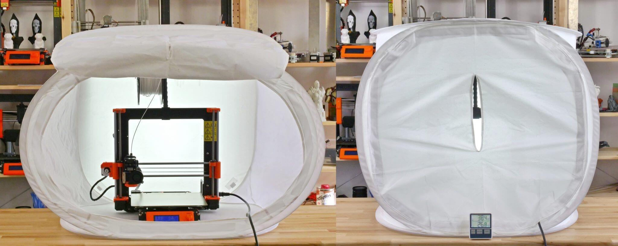 قرار دادن یک پرینتر سه بعدی رومیزی در داخل جعبه گرم که ممکن است باعث آسیب به اجزای پرینتر سه بعدی نیز بشود